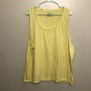 Forever 21 tank top yellow distressed